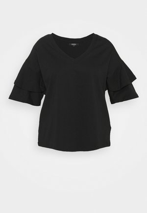 OVERSIZED FRILL - Print T-shirt - black