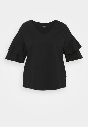 OVERSIZED FRILL - Print T-shirt - black