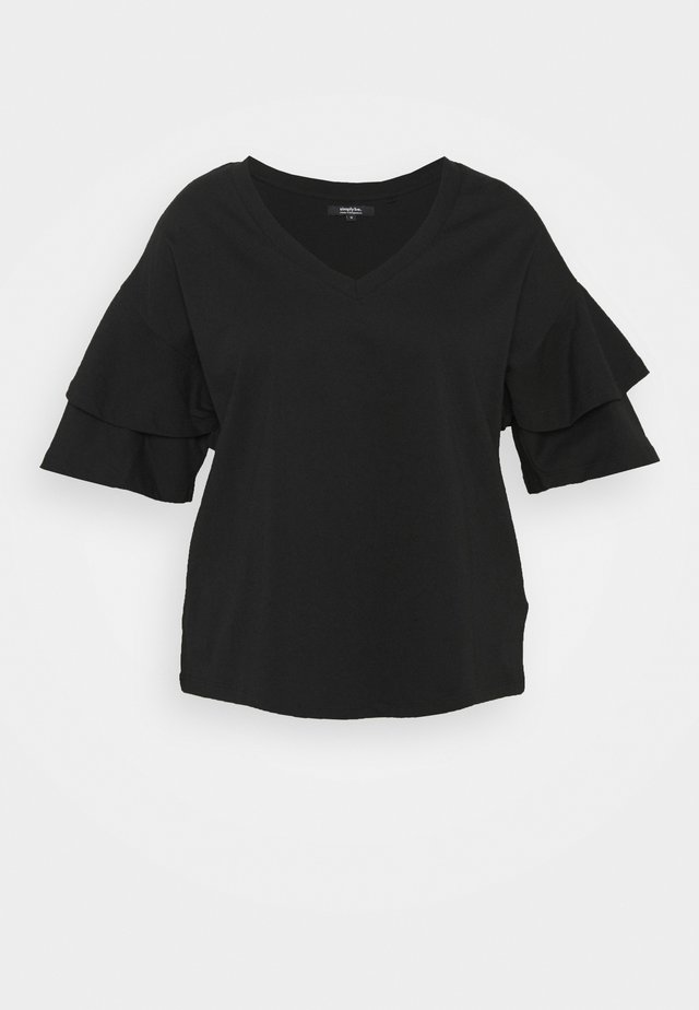 OVERSIZED FRILL - T-shirt con stampa - black