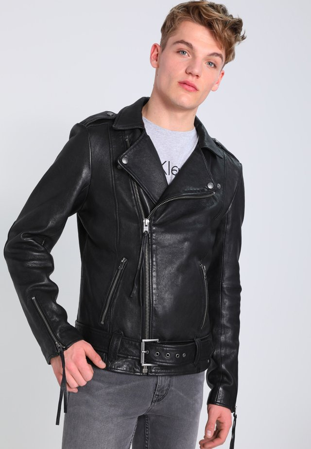 ETHAN - Kožená bunda - black