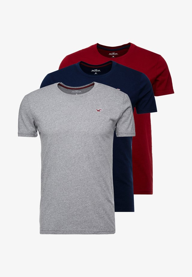 CREW 3 PACK - T-Shirt basic - navy/burgundy/grey