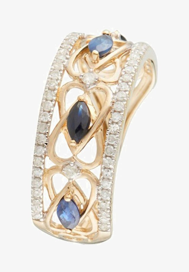 9K YELLOW GOLD RING CERTIFIED 4 SAPPHIRES 0.133 CT AND 62 DIAMONDS HP1 0.29 CT - Bague - yellow