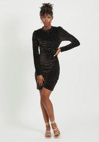 Vila - LEOPARDEN SAMT - Cocktail dress / Party dress - black - 1