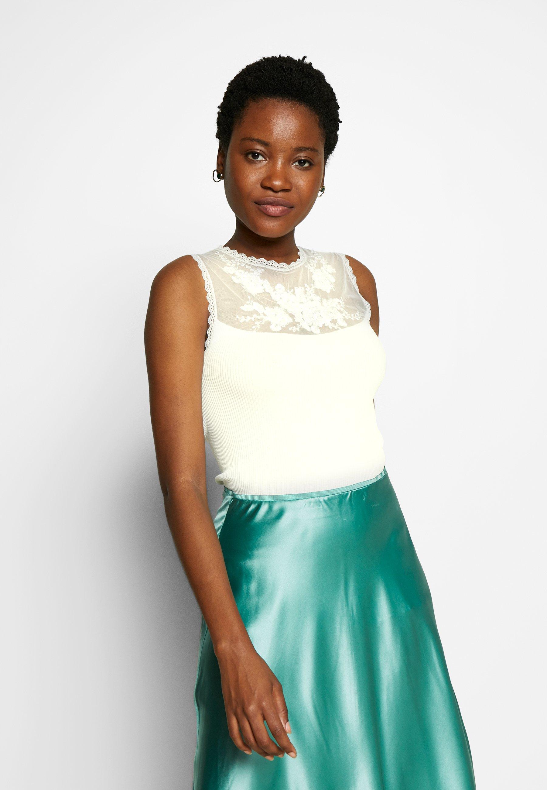 Rosemunde SILK-MIX TOP REGULAR W/EMBELLISHMENT - Débardeur - ivory - Tops & T-shirts Femme rsByt
