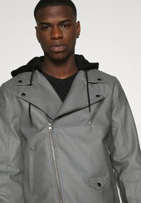 Nominal - HOODED BIKE JACKET - Faux leather jacket - grey - 4
