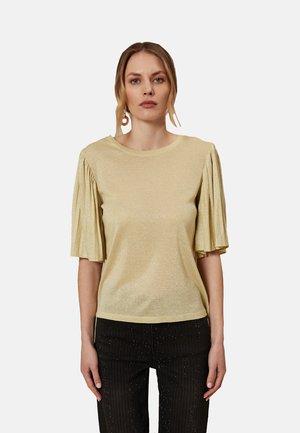 MIT PLISSEE-ÄRMELN - T-shirt con stampa - giallo