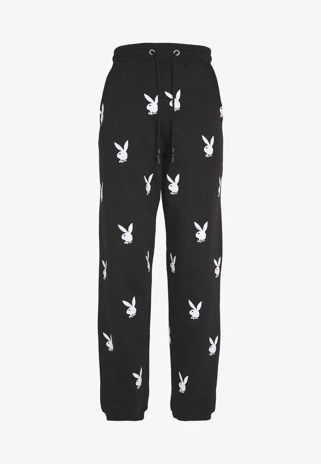 PLAYBOY JOGGERS - Pantalon de survêtement - black/white