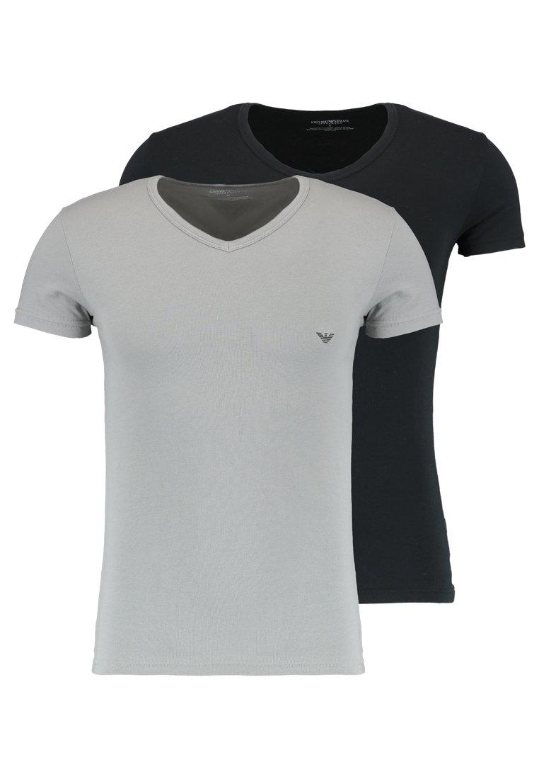 V NECK 2 PACK T shirts basic blackgray