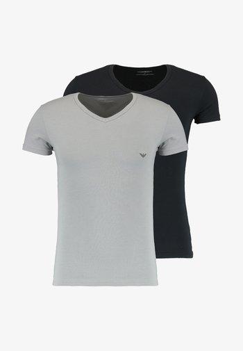 V NECK 2 PACK - Basic T-shirt - black/gray