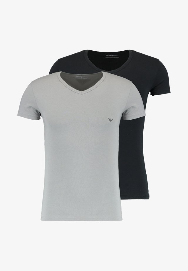 V NECK 2 PACK - Camiseta básica - black/gray