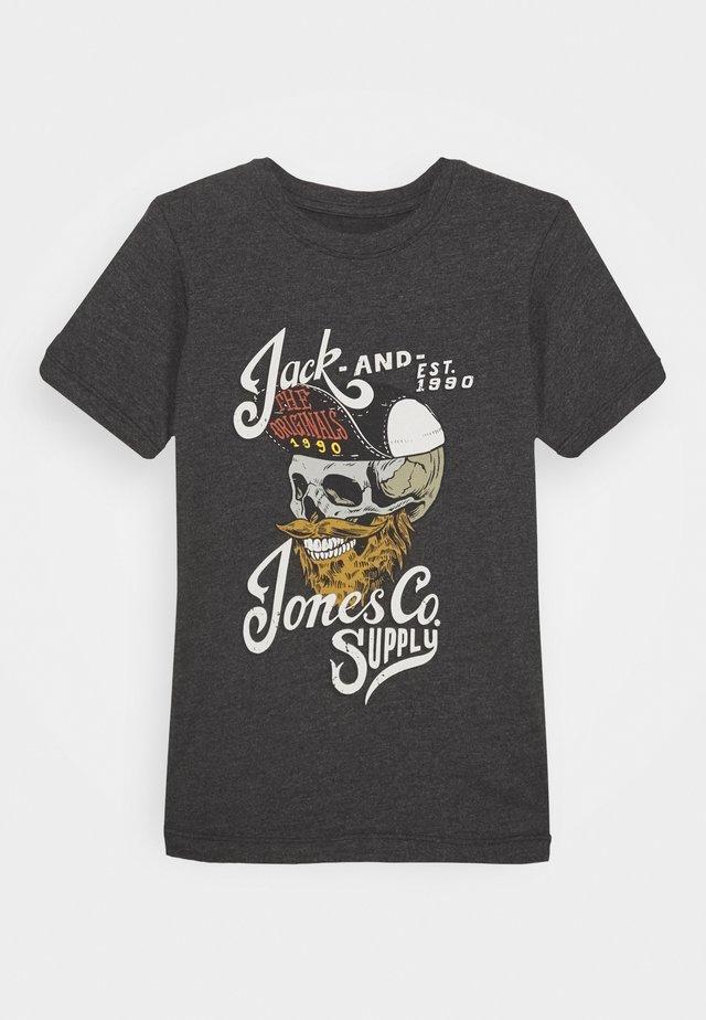 JORSKULLCAP TEE CREW NECK - T-shirt print - dark grey melange