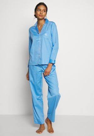 POINTED NOTCH COLLAR LONG PANT SET - Pyžamová sada - blue