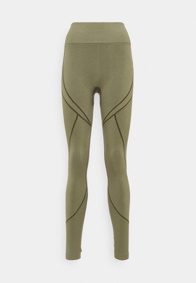 SEAMLESS TWO TONE HIGH WAIST LEGGINGS - Leggings - green