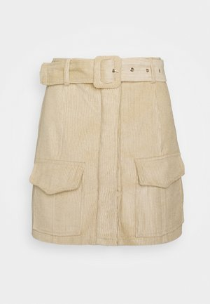 BELTED MINI SKIRT WITH POCKET DETAIL - Pencil skirt - stone corduroy