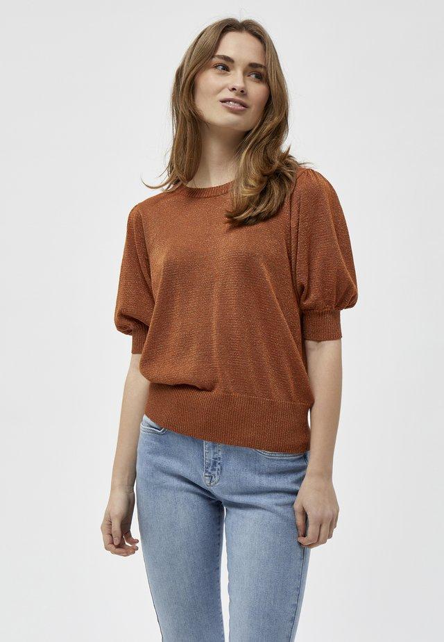 LIVA - T-shirt basique - burned hazel lurex