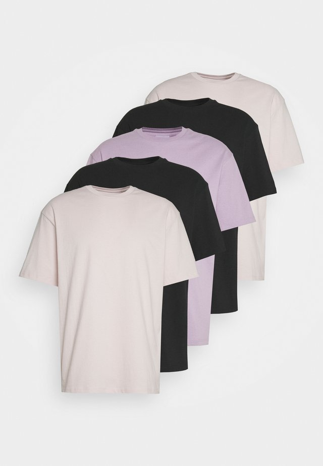 5 PACK - Basic T-shirt - black/pink/lilac