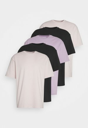 5 PACK - T-shirt basique - black/pink/lilac