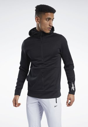 KNIT HALF-ZIP CONTROL HOODIE - Sweat à capuche - black