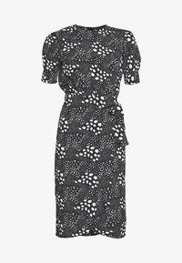 MIXED SPOT TIE WAIST MIDI - Day dress - black