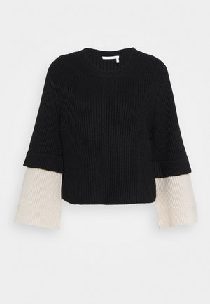 Strickpullover - white/black
