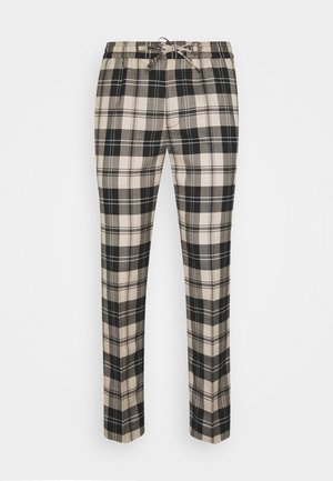NEUTRAL CHECK - Trousers - stone