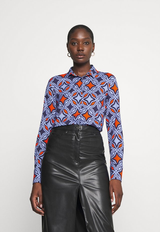 Overhemdblouse - navy/orange