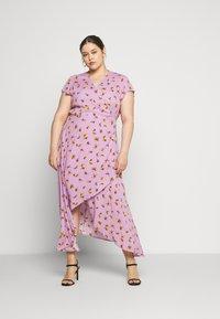 Lost Ink Plus - FLORAL WRAP DRESS - Day dress - purple - 1