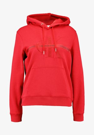 TAPING THROUGH MONOGRAM HOODIE - Felpa con cappuccio - racing red