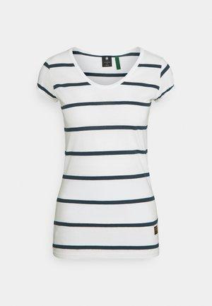 CORE EYBEN SLIM  - Print T-shirt - milk/vintage navy