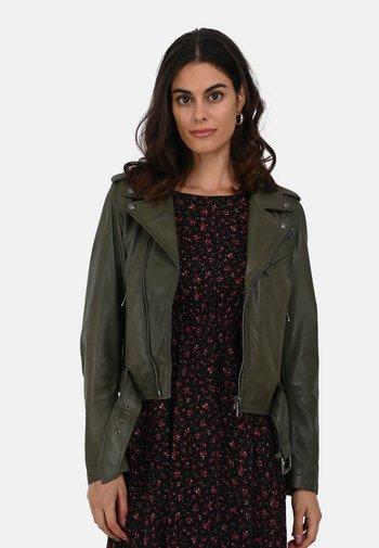 RADIO - Leather jacket - khaki