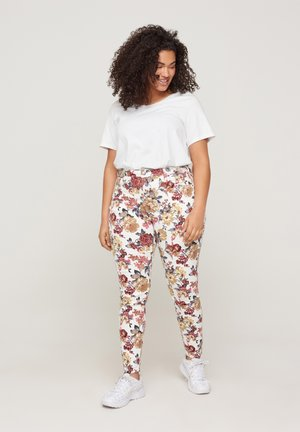 Slim fit jeans - white flower aop