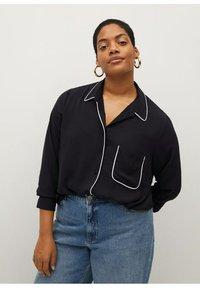 Violeta by Mango - PIPING - Button-down blouse - schwarz - 0