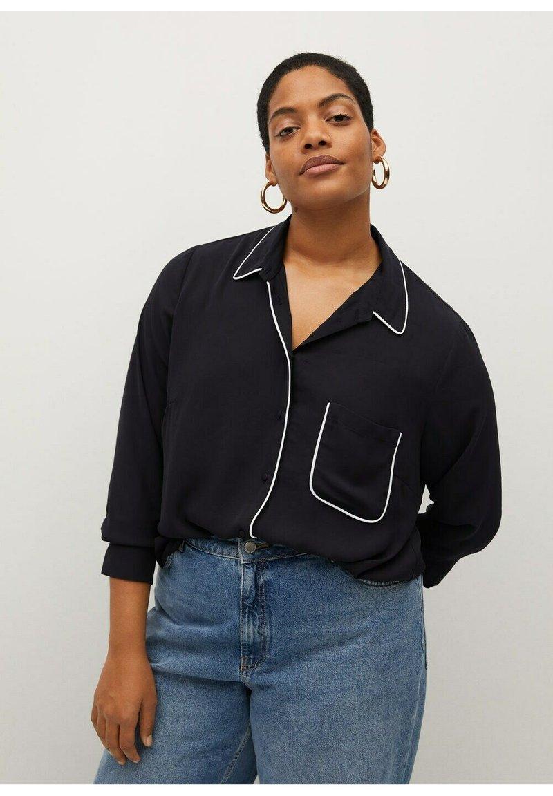 Violeta by Mango - PIPING - Button-down blouse - schwarz