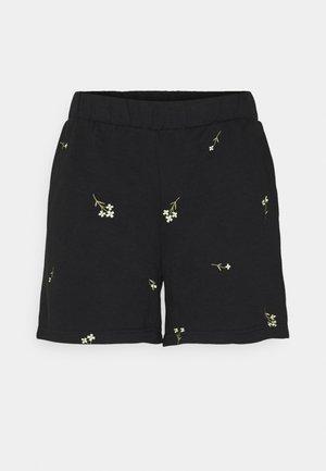 VMNATALIE EMBROIDERY  - Shorts - black/french vanilla/khaki flower