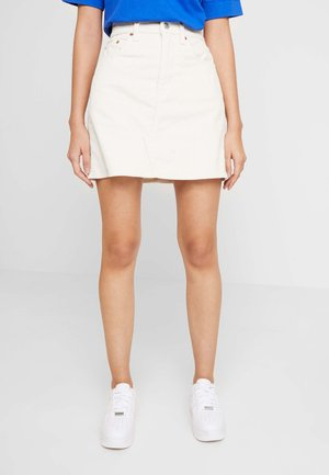 DECON ICONIC SKIRT - Spódnica mini - ecru wide wale