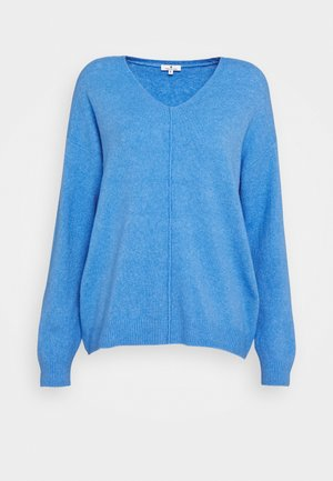 COZY V NECK - Jumper - sea blue melange