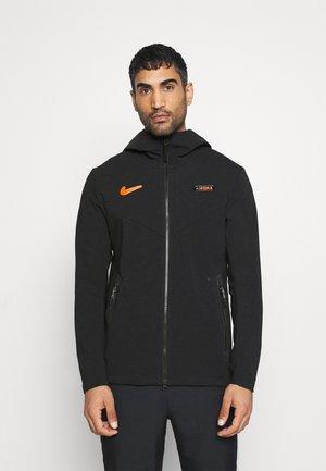 AS ROM HOOD - Zip-up hoodie - black/black/safety orange