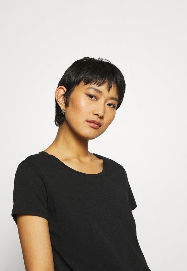 Mos Mosh ARDEN O NECK TEE - T-shirt basic - black Kolor jednolity Odzież Damska KNOY KT 7