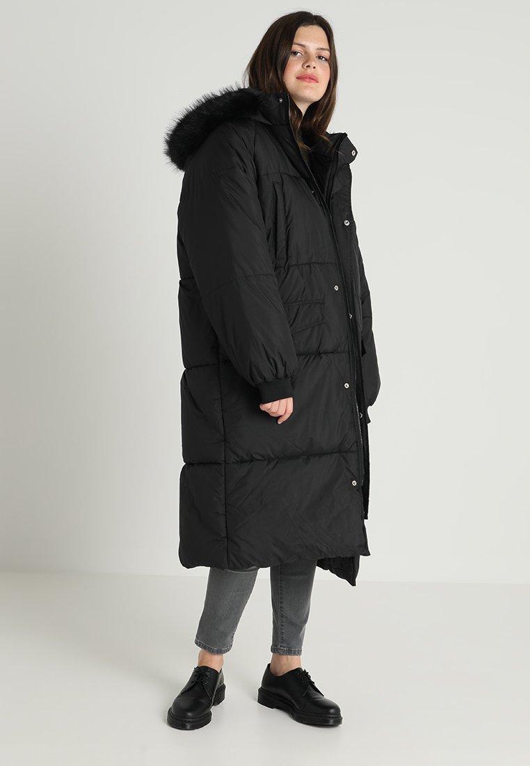 Urban Classics Curvy - LADIES OVERSIZE COAT - Winter coat - black/black