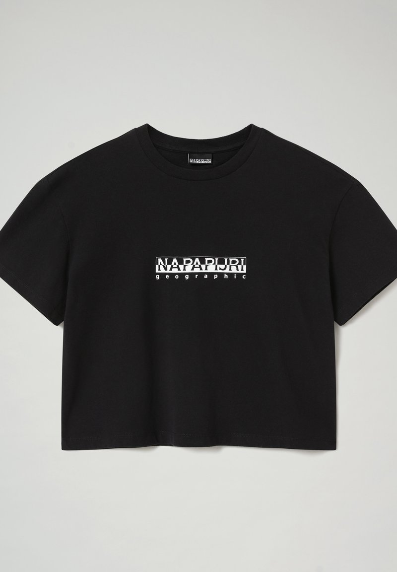 Napapijri - S BOX CROPPED - Print T-shirt - black 041