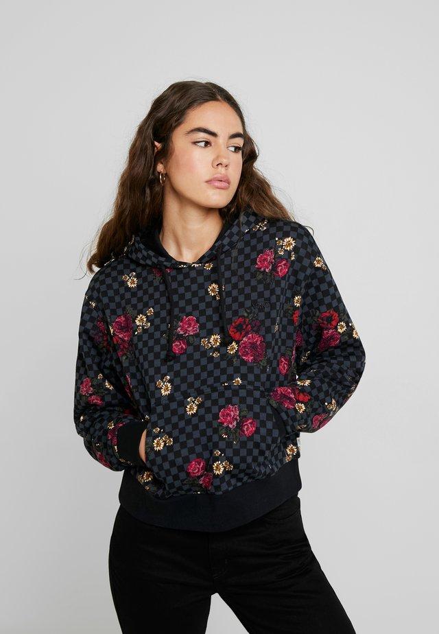 BOTANICAL CHECK CROP HOODIE - Bluza z kapturem - botanical