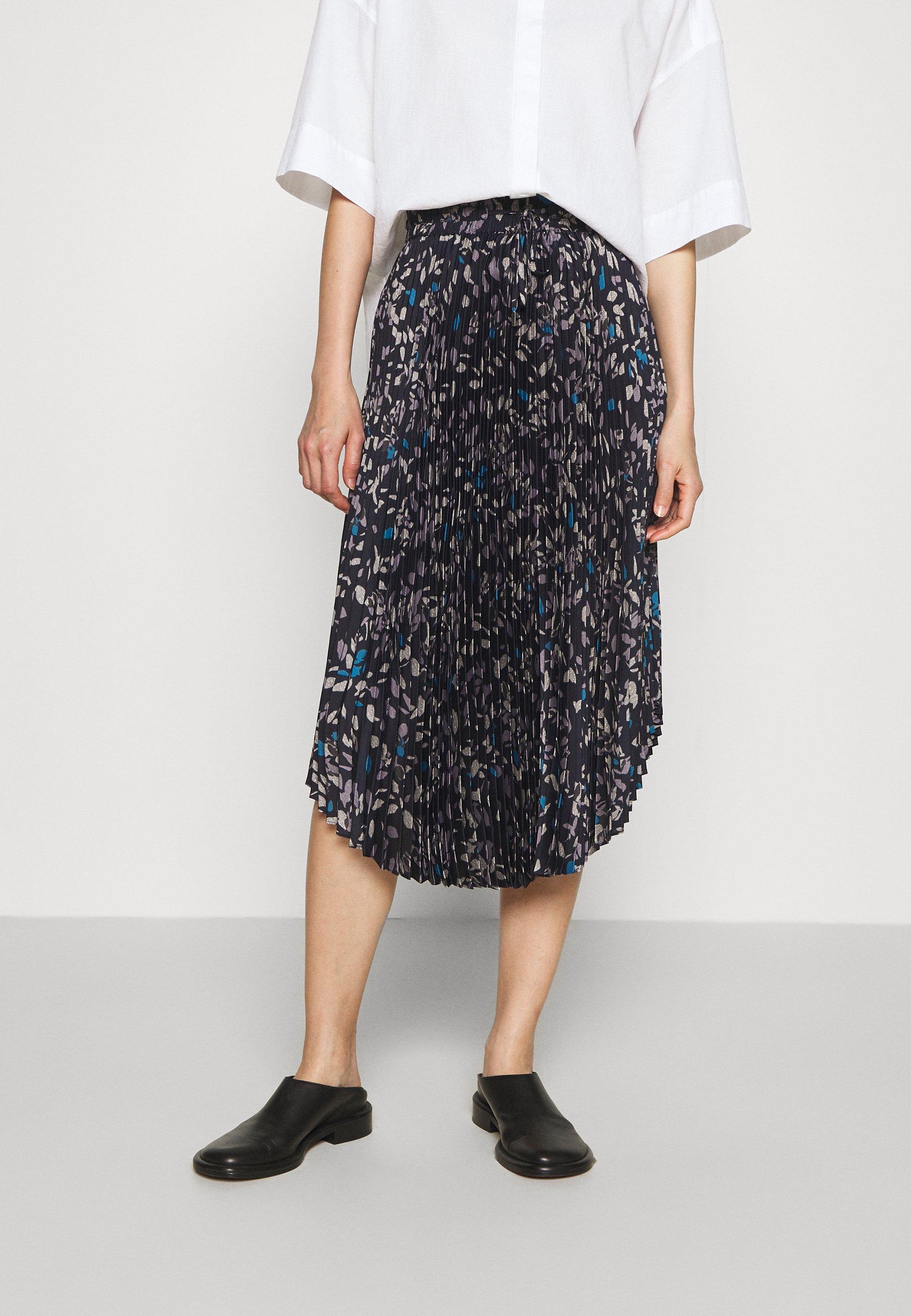 Women PLEATED SCOOP HEM SKIRT - A-line skirt