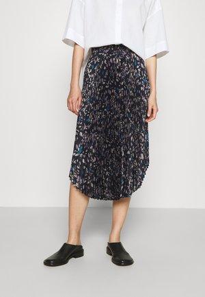 PLEATED SCOOP HEM SKIRT - A-line skirt - navy/multi