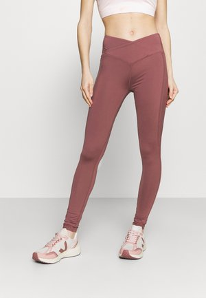 HIGH WAIST SHINE PANEL LEGGING - Collant - rose/brown