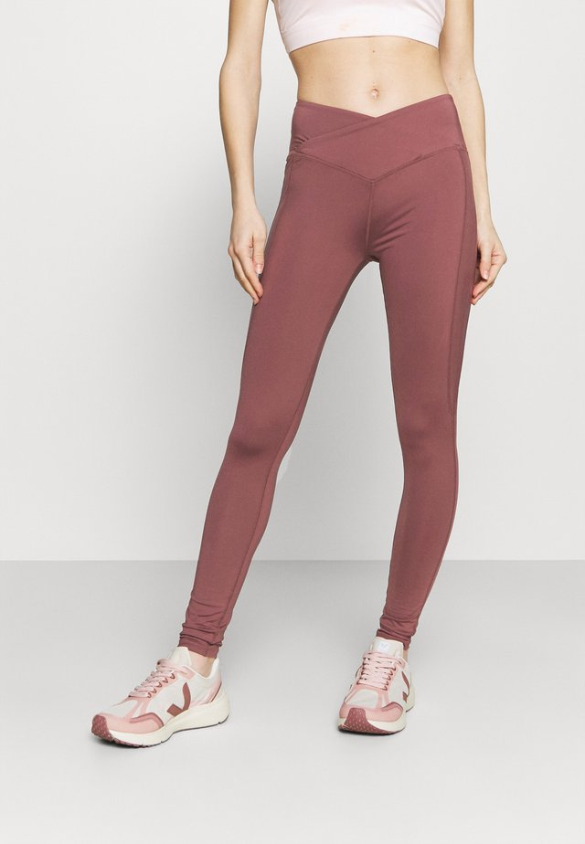 HIGH WAIST SHINE PANEL LEGGING - Medias - rose/brown