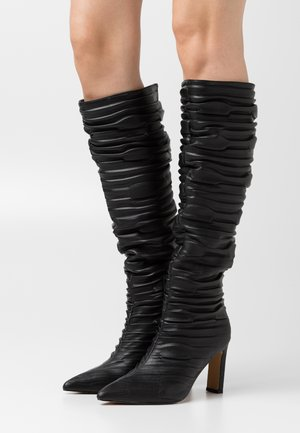 SLOUCHY STRUCTURED SHAFT BOOTS - Kozaki - black