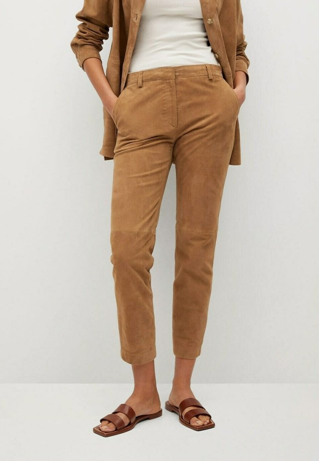 Leather trousers - mittelbraun