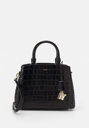 MED SATCHEL CROCO - Handbag - black/gold-coloured