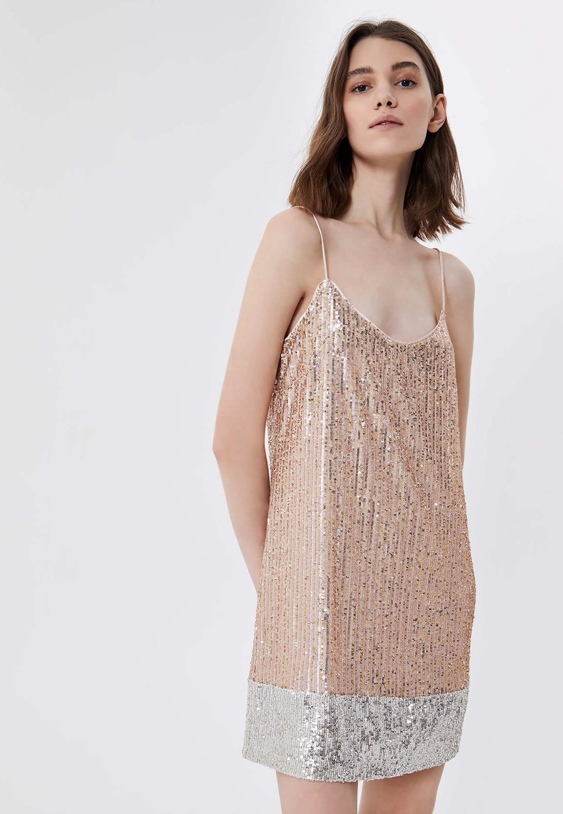 Liu Jo Short Sequin Cocktailkleid Festliches Kleid Pink Beige Zalando De