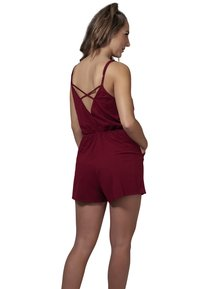 Urban Classics - LADIES SHORT SPAGHETTI - Jumpsuit - burgundy - 1